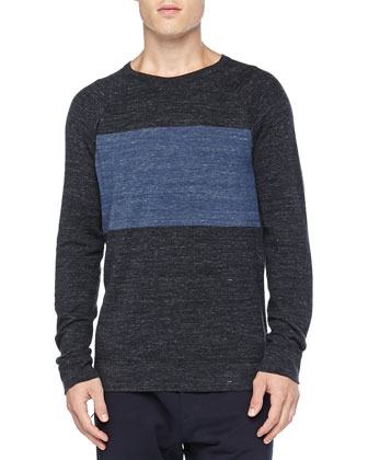 Chest-Stripe Long-Sleeve Tee, Navy/Blue