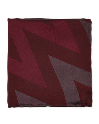 Zigzag Striped Silk Pocket Square, Mahogany Red