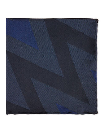 Zigzag Striped Silk Pocket Square, Dark Blue