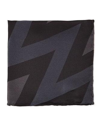 Zigzag Striped Silk Pocket Square, Black