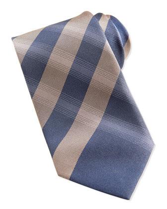 Large-Check Silk Tie, Indigo
