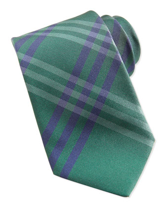 Silk Check Tie, Green/Blue