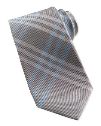 Silk Check Tie, Gray/Powder Blue
