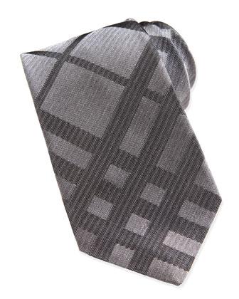 Tonal Woven Check Tie, Gray
