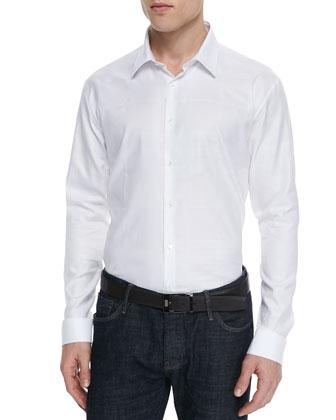 Tonal-Check Dress Shirt, White