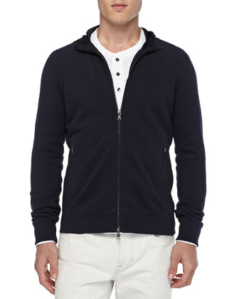 Zip Hoodie with Nylon Detail & Slub Long-Sleeve Henley
