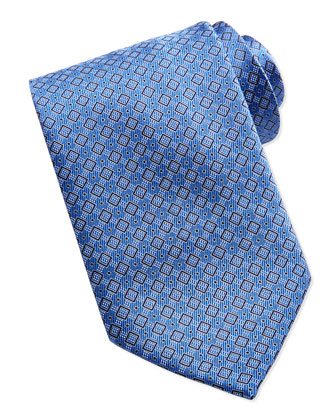 Tonal Box-Pattern Silk Tie, Blue