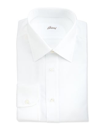 Herringbone Dress Shirt, White