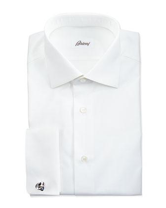 Micro Striped Dress Shirt, White