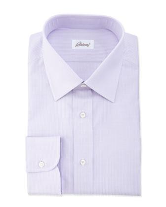 Textured Solid Striped Dress Shirt, Lavender