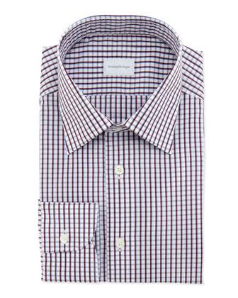 Woven Check Dress Shirt, Burgundy/Blue