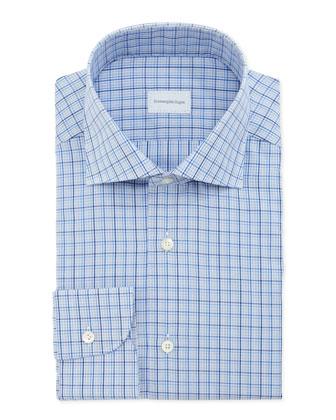 Small-Plaid Dress Shirt, Blue/Navy