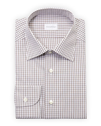 Woven Check Dress Shirt, Brown