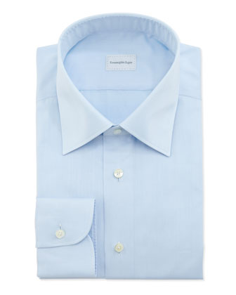 Tonal-Herringbone Dress Shirt, Blue