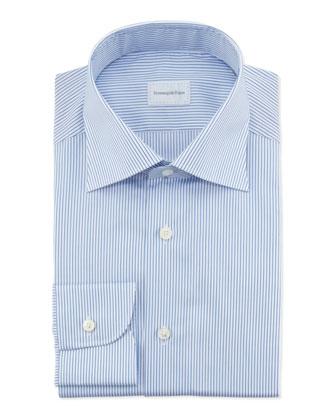 Pencil Stripe Dress Shirt, Blue/White