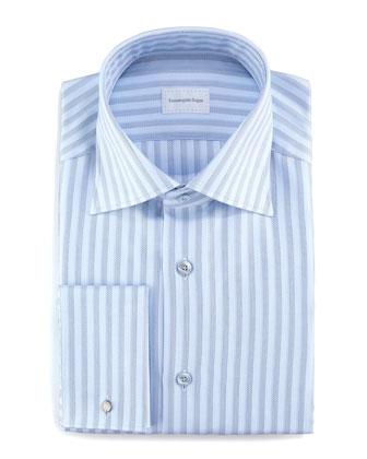 Dotted Stripe Dress Shirt, Light Blue