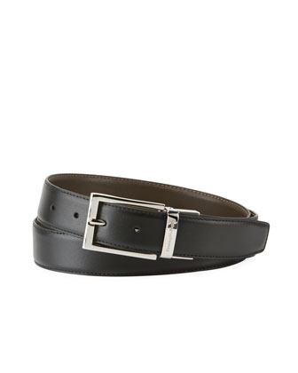 Shiny Reversible Belt, Black/Dark Brown