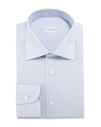 Micro-Basketweave Dress Shirt, Blue
