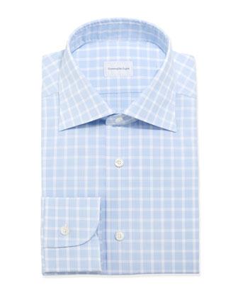 Box-Check Woven Dress Shirt, Light Blue