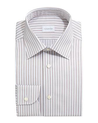 Framed Stripe Dress Shirt, Tan/Light Blue