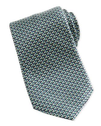 Shells-Neat Silk Tie, Teal