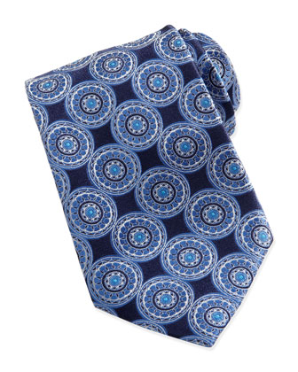 Circle-Medallion Silk Tie, Navy