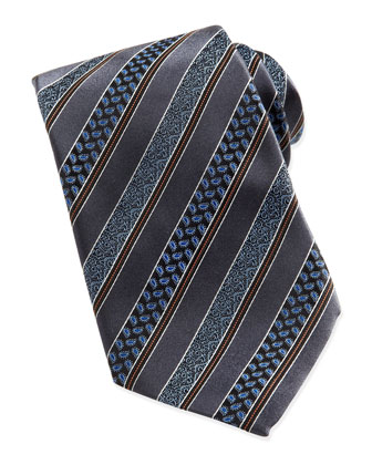 Woven Satin-Paisley-Stripe Tie, Gray