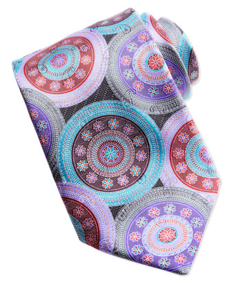 Quindici Large-Circle Silk Tie, Black