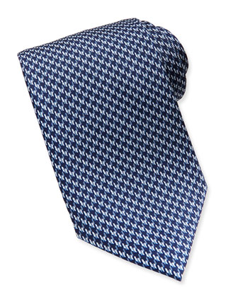 Houndstooth Printed Silk Tie, Blue