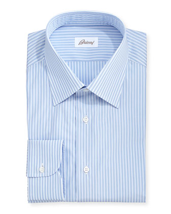 Blue-On-Blue Mini-Stripe Dress Shirt, Blue