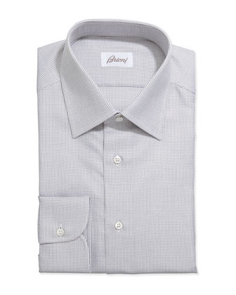 Lattice-Weave Grenadine Dress Shirt, Brown