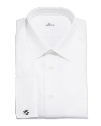 French-Cuff Shadow Stripe Dress Shirt, White