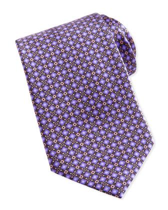 Diamond Geo-Neat Silk Tie, Purple