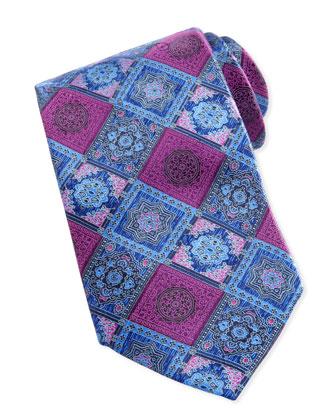Woven Tonal-Diamond-Print Tie, Purple