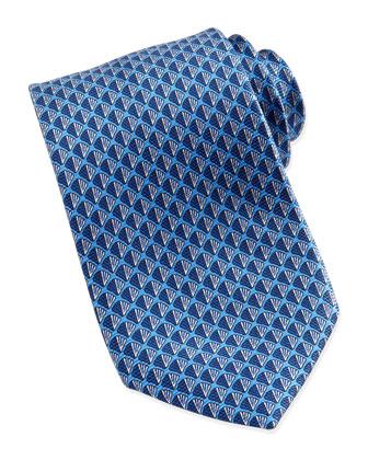Shell Neat Silk Tie, Blue