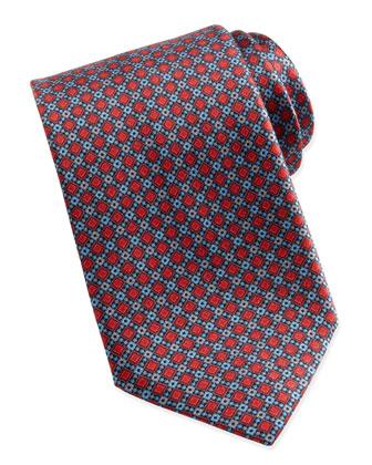 Diamond Geo-Neat Silk Tie, Red