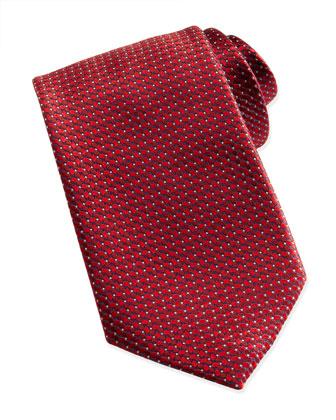 Woven Tonal-Diamond-Print Tie, Red