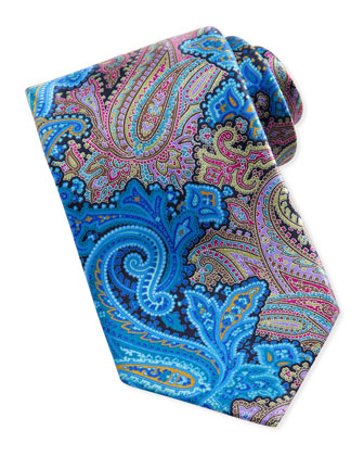 Quindici Paisley-Print Silk Tie, Turquoise