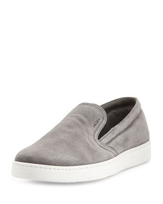 Leather Slip-On Sneaker, Gray