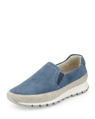 Suede Slip-On Espadrille Sneaker, Blue