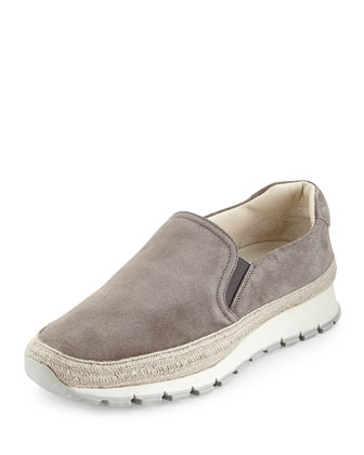Suede Espadrille Slip-On Sneaker, Gray