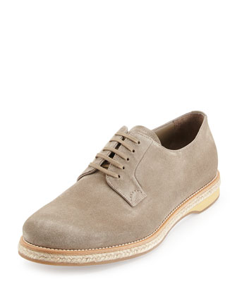 Suede Lace-Up Espadrille, Light Brown