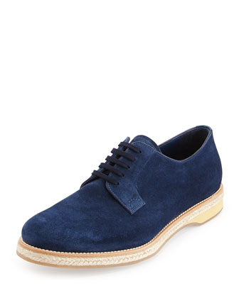 Suede Lace-Up Espadrille, Navy