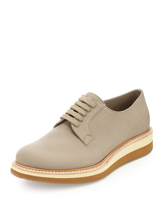 Gabardine Lace-Up Wedge, Natural