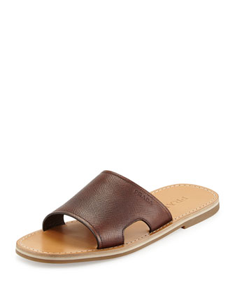 Saffiano Slide Sandal, Brown