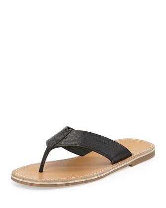 Saffiano Thong Sandal, Black