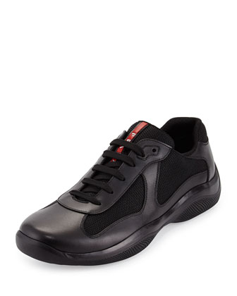 America's Cup Leather & Mesh Sneaker, Black