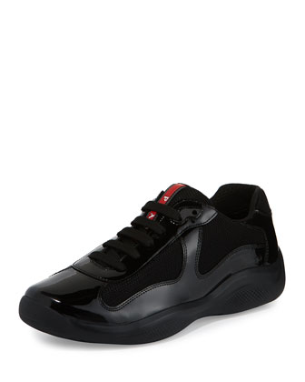 America's Cup Patent Leather Sneaker, Black