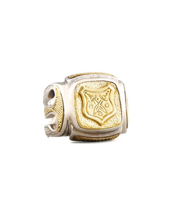 Myrmidones Men's Etched Shield Ring