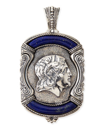 Men's Sterling Silver & Lapis Greek Pendant